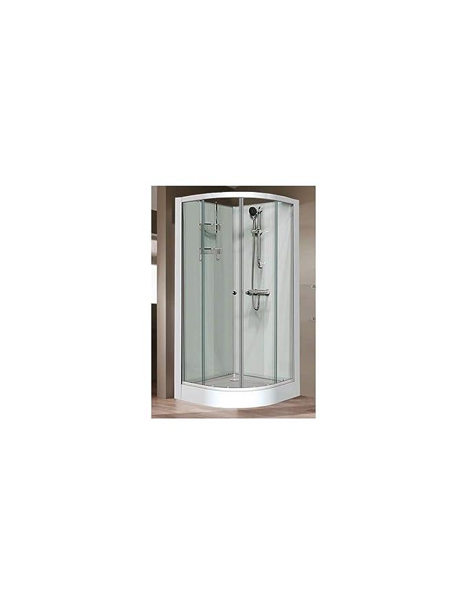 9d6254c5e62d71 Cabine de douche IZIGLASS, quart de rond 90cm portes coulissantes, profilé  blanc, verre transparent, Réf. L11IZ30239  Amazon.fr  Cuisine   Maison