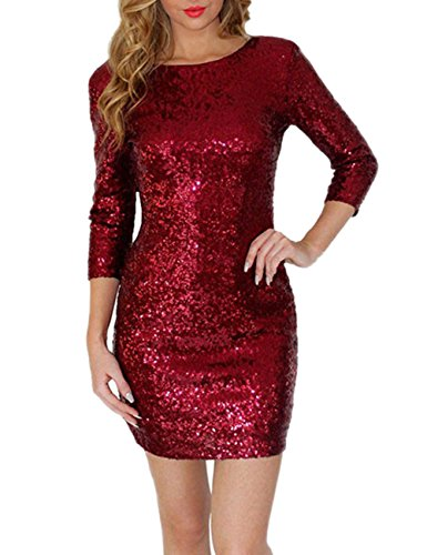 Backless Delicate Yiwa Dress Round Fashionable Tight Long Dress Collar Women Sleeve Red Slim Sequined TZxn80IqZ