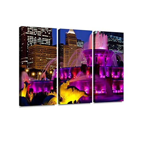 Chicago Buckingham Fountain Purple 3 Pieces Print On Canvas Wall Artwork Modern Photography Home Decor Unique Pattern Stretched and Framed 3 ()