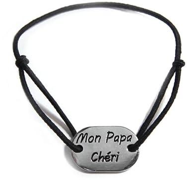 Cordon Bracelet Réglable Homme , Mon Papa Chéri , Noir , Cadeau Fête des  Pères