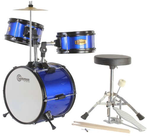 Blue Drum Set Junior Kids Kit Complete with Cymbal Stool and Sticks by Gammon Percussion