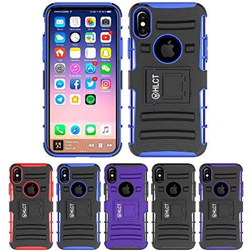 Price comparison product image iPhone X Stand Case, HLCT Rugged Shock Proof Dual-Layer Case with Built-in Kickstand for iPhone X (Blue)