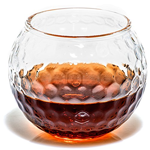 Golf Whiskey Glass – 10 oz Unique Golf Ball Shaped Rocks Glass (other designs available) for Bourbon, Scotch, Brandy - Old Fashioned/Rocks Glasses from Prestige Decanters (Set of Two - -