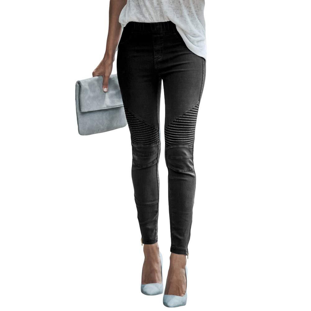 Black Sylviaan Women's Casual Zipper Side Skinny Pants Pull On Jeans Stretch Denim