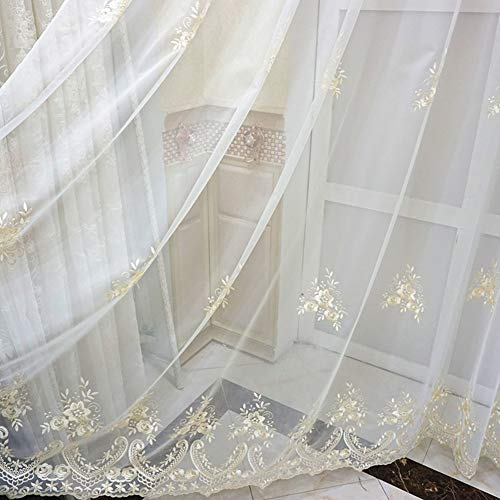 ABCWOO Luxurious Sheer Voile Gauze Window Curtains Rod Pocket Exquisite Floral Embroidered Home Decor Tulle Panel Treatment Drapes for Living Room(1 Panel, W 50 x L 90 inch, Gold) (Gold-rosa-grau)