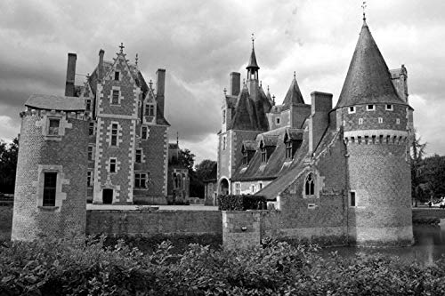 (Chateau du Moulin - World - #36270Wall Art Prints Fabric Cloth Rolled Wall Poster Print - Size:24x16 Inches Black White)