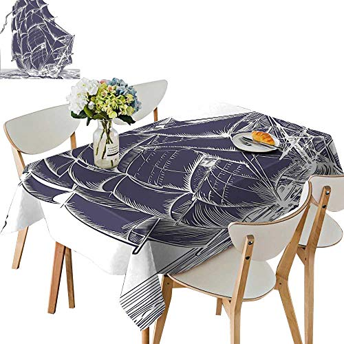 (UHOO2018 100% Polyester Tablecloth Sail Boat in The Ocean on White Background Pirate Tresure Retro Illustration Cadet Square/Rectangle Multicolor,50x 50inch)