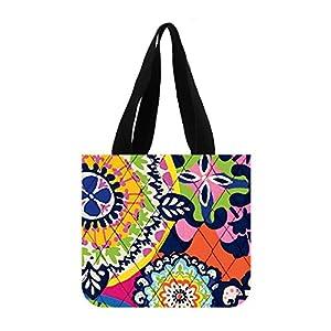 JIUDUIDODO Cotton Canvas Custom Flowers Tote Bag Casual Bags Shopping Bags Shoulder Bags (2 Sides)