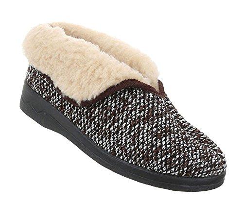 Schuhe Damen Schuhcity24 Freizeitschuhe Hausschuhe Braun Warm Gefütterte 8w8q5rd