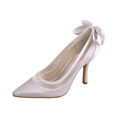 Wedopus MW436 Women's Pointed Toe Back Bowtie Stiletto Heel Satin Wedding Shoes for Bride | Pumps