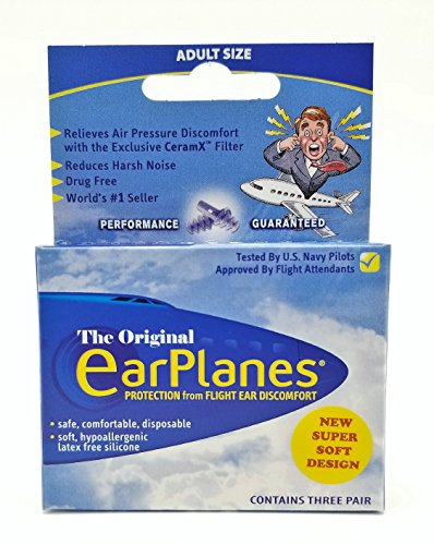 New Super Soft Adult EarPlanes® Ear Plugs Airplane Travel Ear Protection 3 Pair by Earplanes
