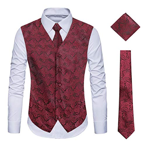 WULFUL Men's 3pc Paisley Vest Necktie Pocket Square Set for Suit or Tuxedo Wine Red
