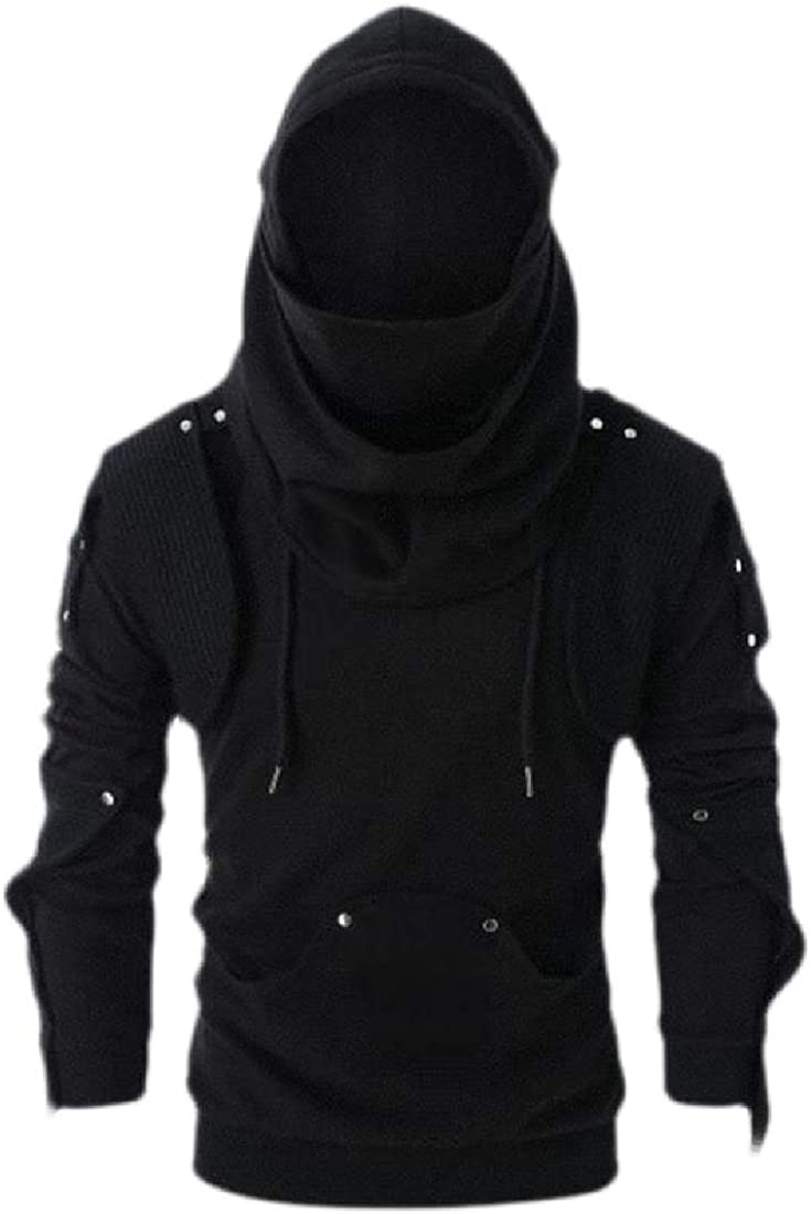 Wofupowga Mens Rivet Long Sleeve Goth Pullover Sweatshirt Hoodies with Pocket