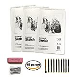 Sketch Pad Drawing Art Supply Set – Deluxe Art Set Includes 3 Sketchbooks 150 Sheets total 10 Premium Pencils 1 Pink Eraser and 1 Single Hole Sharpener For The Ultimate Paper Kit (1)