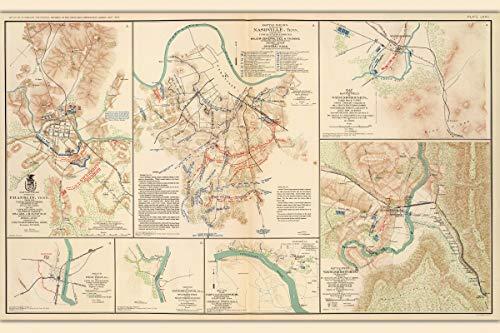 History Prints Nashville & Franklin TN Civil War Battlefields; Antique Map, 1865