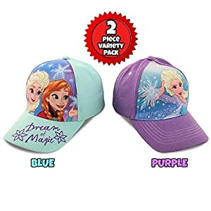 Disney Little Girls Assorted Character Cotton Baseball Cap, 2 Piece Design Set, Age 2-7