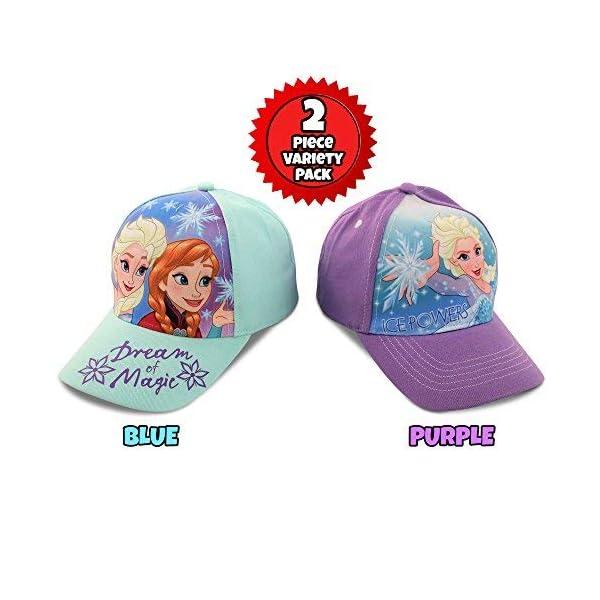 Disney Little Girls Assorted Character Cotton Baseball Cap, 2 Piece Design Set, Age 2-7