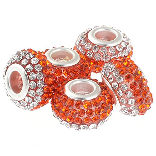 RUBYCA Big Hole Czech Crystal Large Charm Beads fit European Bracelet (5pcs, 15mm, Orange White) (Orange Italian Murano Bead)