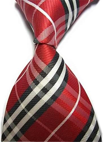 Allbebe Men's Classic Checks Red Black Jacquard Woven Silk Tie Necktie
