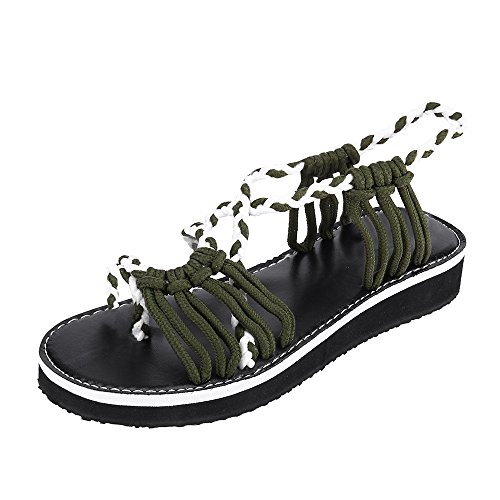 (Women's Flat Sandals, Fulijie Casual Cross Strap Braided Rope Rubber Sole Peep Toe Home Beach Roman Sandals Shoes Army Green)