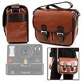 DURAGADGET Brown PU Vintage Brown Leather Vintage Brown Satchel Carry Bag - Suitable for Polaroid OneStep+|Polaroid OneStep 2 i-Type Camera|Polaroid OneStep 600 Camera