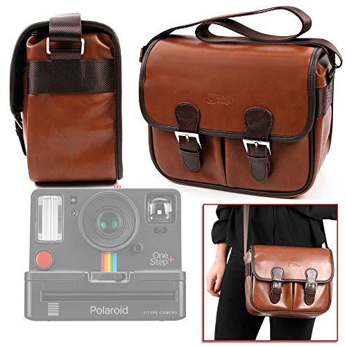 DURAGADGET Brown PU Vintage Brown Leather Vintage Brown Satchel Carry Bag for Polaroid OneStep+   Polaroid OneStep 2 i-Type Camera   Polaroid OneStep 600 - Original Camera Bag