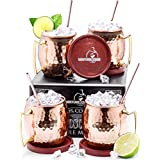 Authentic Moscow Mule Copper Mugs Set of 4 - Includes Everything You Need Plus Bonuses!