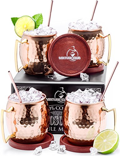 Authentic Copper Moscow Mule Mugs Set of 4 (16oz) - Heavy Weight - Food Safe Lacquer - Great Gift - Includes 4 Wooden Coasters, 4 Straws - Best Quality Copper Cups