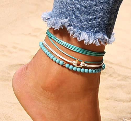 [해외]발목 장식 여성용 3 개 세트 비즈 디자인 편리한 미니 건 착 봉투 첨부 캐주얼 액세서리 보석 선물 볼륨 업 이나 거듭해 이상적인 경량으로 지정 가능 / Anklet Ladies 3 pieces Bead Design Convenient Mini Casual Accessories Jewelry Gift sit-u...