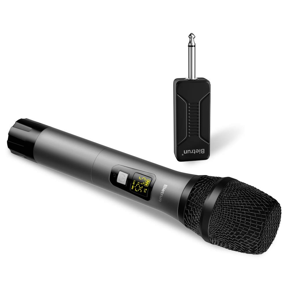 Wireless Microphone, UHF Handheld Dynamic Karaoke Microphone System with Rechargeable Receiver, 260ft Range, 1/4'' Plug, for Speakers, DJ, Amplifier, PA System, Singing Machine, Mixer (Metal) by Bietrun