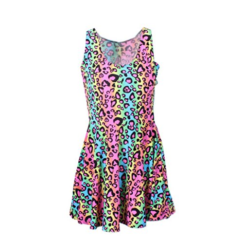Rainbow Leopard Print - Neon Rainbow Leopard Cheetah Print Knee Length Mini Dress Rave Party Fun (X-Small)