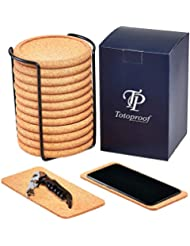 Set of 12 Cork Coasters Round Edge – 13cm Height Coasters Cork Holder – Protects Wood Furniture Drink Coasters – 2 Unique Phone Coasters & Wine Bottle Opener