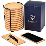 Best Drink Coasters With Wood Holders - Set of 12 Cork Coasters Round Edge – Review