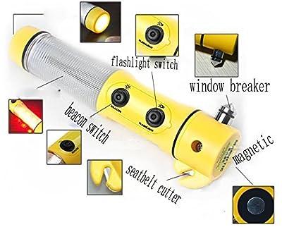 Kubert® 2 Pack Emergency Escape Tool with Car Window Breaker Hammer - Seat Belt Cutter - Flashing Beacon Light - LED Flashlight - Handfree Magnetic Base Escape Emergency Survival Tools from Kubert