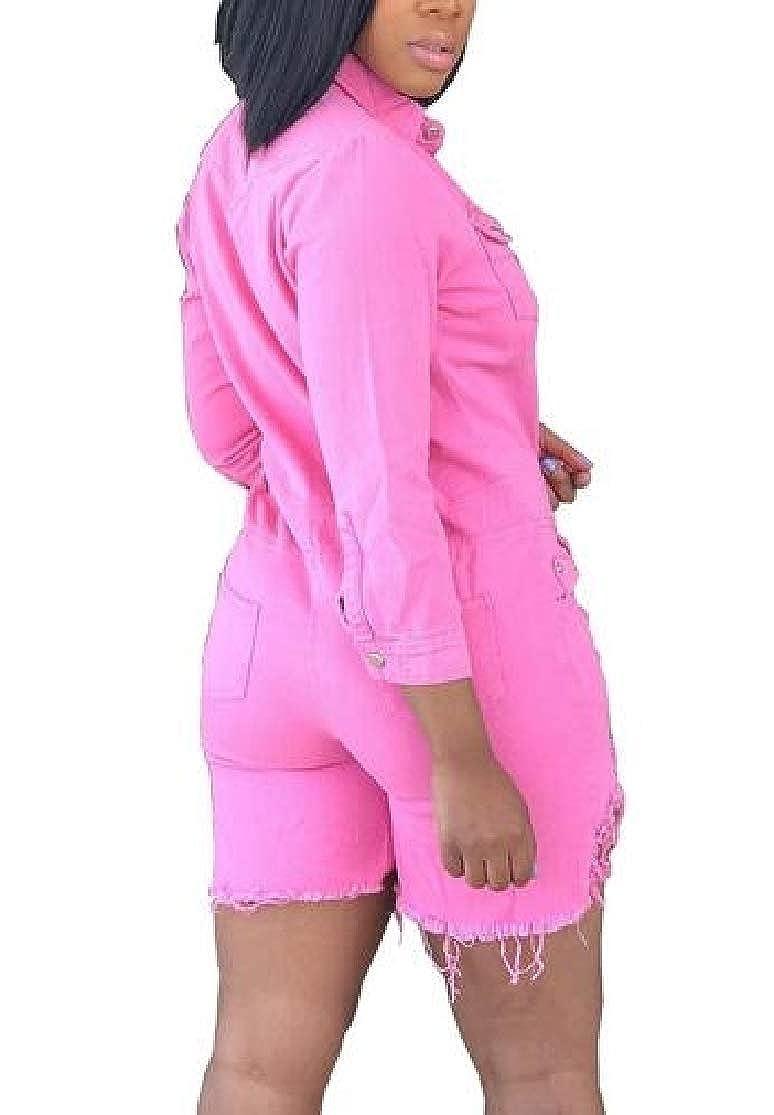 KLJR Women Solid Washed Denim Button Down Long Sleeve Short Jumpsuit Romper
