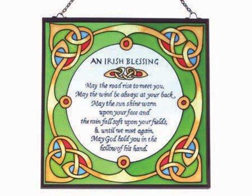 Irish Suncatcher - Irish blessing stained glass window hanging. Irish Gift designed in Galway Ireland.