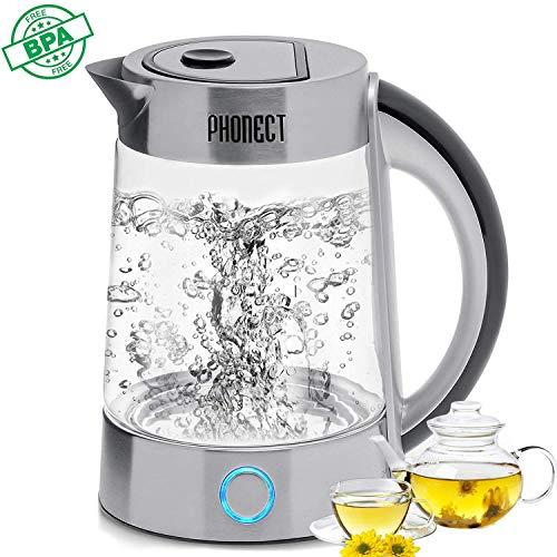 Comprar PHONECT Hervidor de Agua Eléctrico 2200W - Hervidor de Cristal rápido 1,7l Libre de BPA, Doble Sistema de Seguridad,Filtro Antical.Acero Inoxidable
