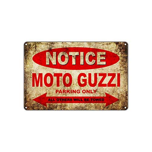 Moto Guzzi Motorcycles Bikes Only All Others Will Be Towed Parking Sign Vintage Retro Metal Decor Art Shop Man Cave Bar Aluminum 8x12 inch Sign Plate