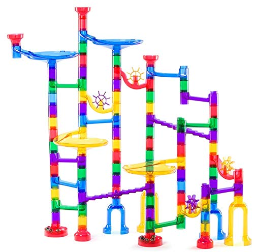 Lolo Toys Marble Run Set for Kids - 106 Pieces (16 Glass Marbles) Stem Learning Toy for Kids Ages 4 Plus, Educational Tower Game/Gravity Maze, Marble Race Track. Great IQ Builder and Coordination Game