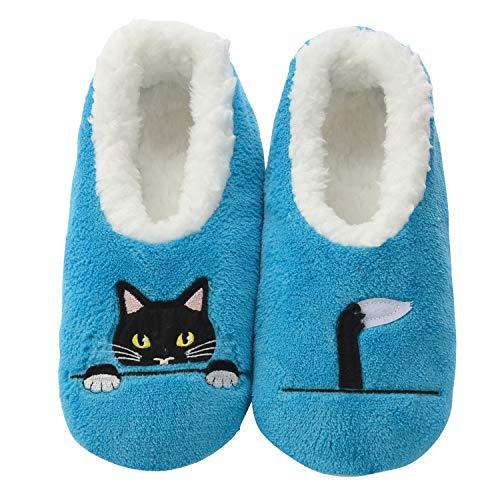 (Snoozies Womens Classic Splitz Applique Slipper Socks | Peek-A-Boo Cat | X-Large)