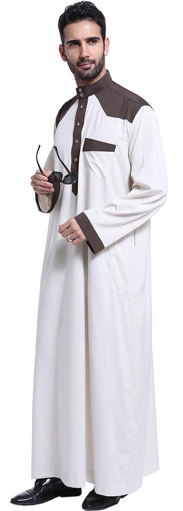 Ababalaya Men's Long Sleeve Mock Neck Color Block Muslim Thobes Dishdasha Easter Wear, Ivory, XL