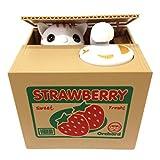 Mischief Saving Box Stealing Coin Piggy Bank, White Kitty Cat Strawberry