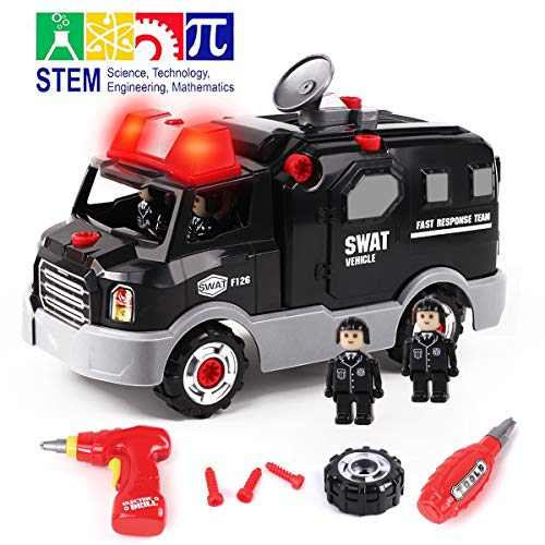 GILOBABY Take Apart Police Car with 4 Policemen, STEM Toy DIY Car with Drill Tool, Lights and Sounds, 32 Piece, Build Your Own Car for Boys & Girls Age 3+ (Build A Toy Car)
