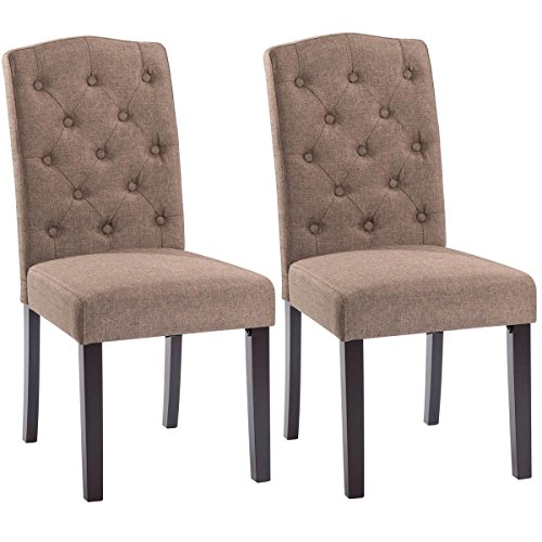 Giantex Set of 2 Linen Fabric Wood Accent Dining Chair Tufted Modern Living Room (Brown)