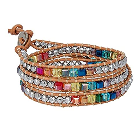 - 51Qk4k4DnOL - SPUNKYsoul New! 7 Chakra Balancing Leather Wrap Crystal Bracelet with Hematite for Women Collection