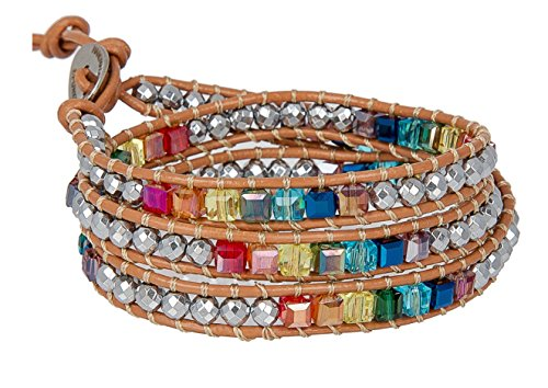 s Leather Wrap and Crystal Bracelet for Women | SPUNKYsoul Collection (Tan) (Rainbow Stone)