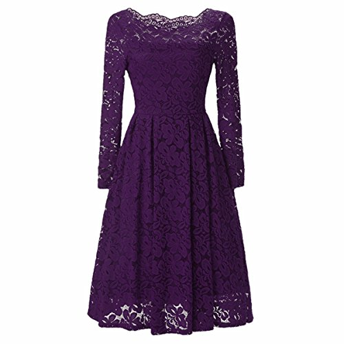 Samtree Women's Floral Lace Long Sleeve Vintage Bridesmaid Cocktail Party Swing Dress(M(fit US 4-6),Purple) (Bridesmaid Sleeve Long)