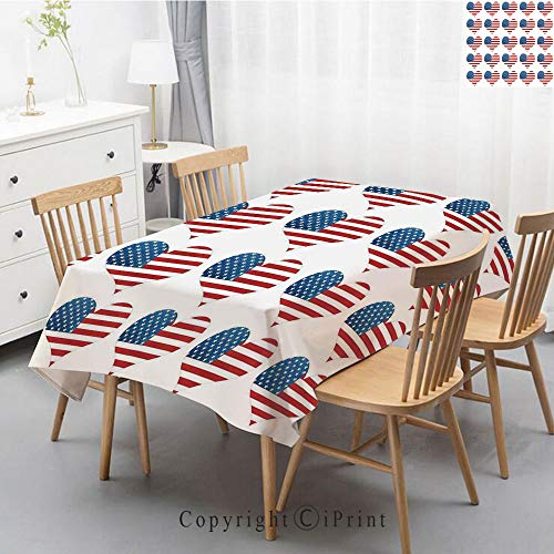 Pure Linen Plain Tablecloth Athena,Natural Rectangular Table Cloth for Indoor and Outdoor Use,Natural Tablecloth,55x70 Inch,American Flag Decor,Heart Figures with Flag Idol Patriot Pattern Modern Amer ()