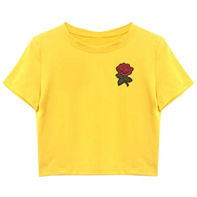 550d655097c2 TOPKEAL T Shirts Ladies Pure Color Flower Embroidery Short Loose Sleeve  Summer Blouses Women Tops Tees Casual Fashion 2019  Amazon.co.uk  Clothing