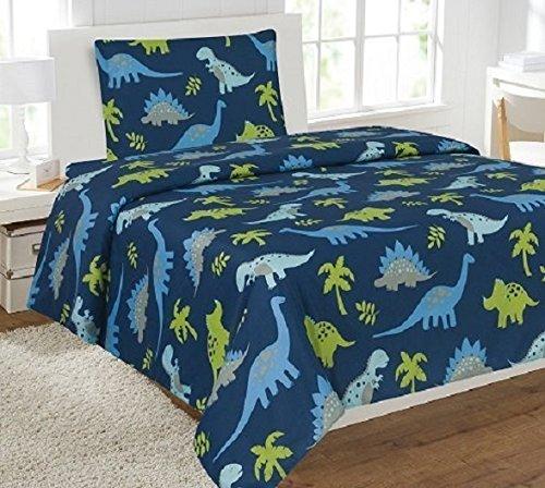 Linen Plus Twin Size 3pc Sheet Set for Boys Dinosaur Dark Blue Green Grey New
